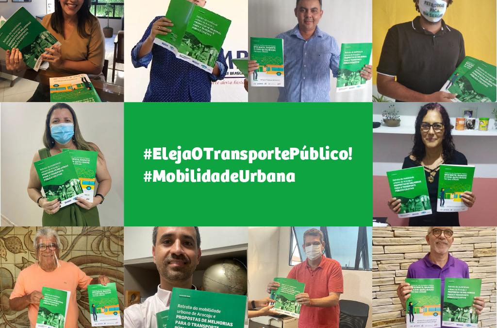 Mosaico com fotos dos candidatos segurando caderno Mobilidade